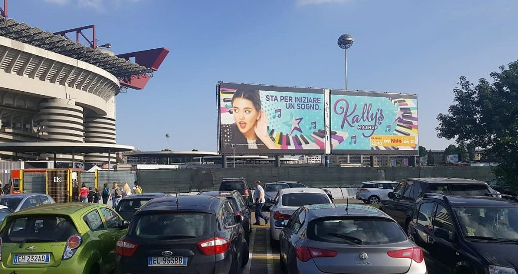 Kally's Mashup billboards during the concert of Fedez and J-Ax in Milan